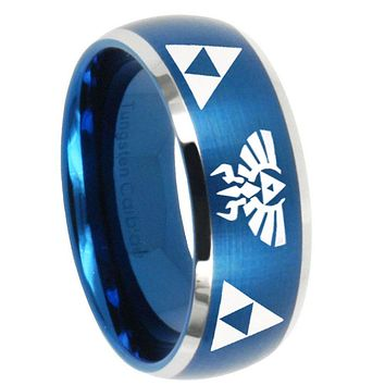 10mm Legend of Zelda Dome Brushed Blue 2 Tone Tungsten Men's Promise Rings