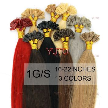 50S 16-22inches 1g/s Women's Pre Bonded U/NAIL Kertain Tip Ombre Real Hair Extensions Straight