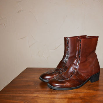 Vintage Boots BEATLE Boots Brown Leather Boot 60s 70s ANKLE Boots Zip Up Boots Mod Boots Size 8