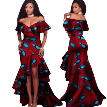 New Autumn African Tribal National Printing Slash Neck Sexy Long Dresses
