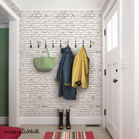 White Brick Self Adhesive Fabric Wallpaper Repositionable