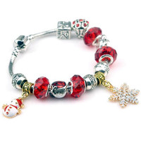 New Year Gift Christmas Bracelets Snowman Snowflake Charm Pendant Silver Plated Fashion DIY Beads Women Bracelet