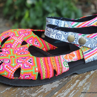 Womens Shoe Mary Jane Style In Pink Hmong Embroidery Vegan Espadrille
