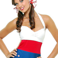 First Mate Red White & Blue Sailor Swimsuit Halloween Costume - Unique Vintage - Bridesmaid & Wedding Dresses