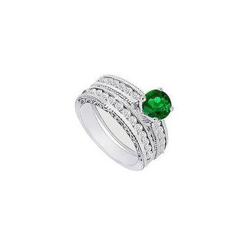 Emerald & Diamond Engagement Ring with Wedding Band Sets 14K White Gold  1.00 CT TGW