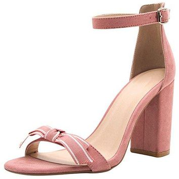 Cambridge Select Womens Open Toe Single Band Grosgrain Ribbon Bow Buckled Ankle Strappy Chunky Block High Heel Sandal