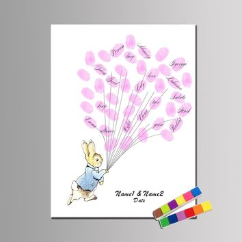 1 set Personalize Gift Wedding Birthday Baby Shower Communion Party Guestbook For Fingerprints Include Inks Cute Bunny Rabbit