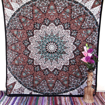 Tapestry Tapestries, Psychedelic Star Mandala Tapestry Wall Hanging, Indian Bedspread Bohemian Room Décor, Dorm Bedding Tapestry Art