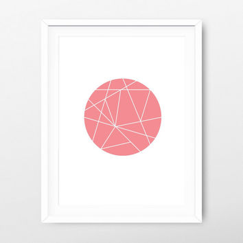 Printable Art Geometric Round Coral - Valentine's Print - Geometric Print - Wall Art Download - Geometric Download - Minimalist Print