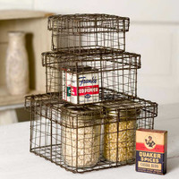 Set of 3 Vintage Wire Storage Boxes. Nesting Vintage Bins. Organize Storage