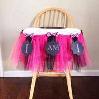 Bright Pink and Black Zebra Highchair Tutu; First Birthday Tutu
