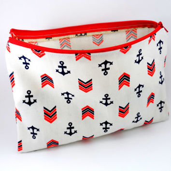 Flat Nautical Anchor Navy Pencil Case or Makeup Pouch.  Long, Zippered, Travel, School or Work