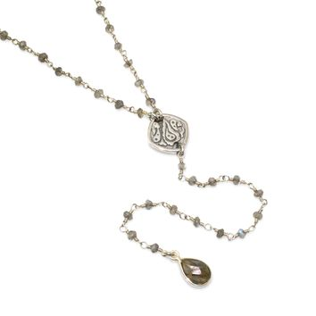 Labradorite and Sterling Silver Rosary Chain Y Necklace
