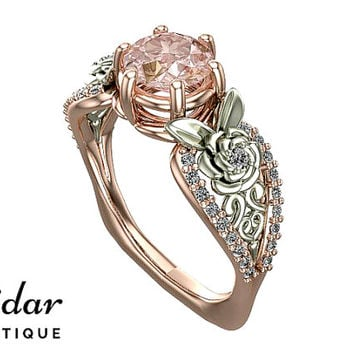 Flower Engagement Ring,Unique Engagement Ring,Rose Gold  1 Carat Ring By Vidar Botique,Morganite Engagement Ring,Leaves Ring,Vintage Rings