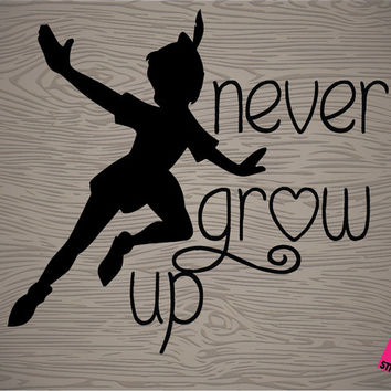 "perter pan ""never grow up"" vinyl decal sticker, free shipping! perfect for car, macbook, ipad, DIY projects, tumblers, and so much more!"
