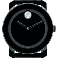 Women's Movado 'Bold' Crystal Marker Patent Leather Strap Watch, 42mm - Black