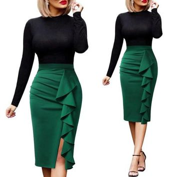Ruched Ruffle High Waist Side Split Fitted Stretch Pencil Skirt