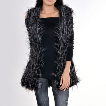 Gradient Color Women Faux Fur Vest Imitation Ostrich Hair States Fashion Fur Long Jacquard Vest Plus Size Womens Jackets Vest