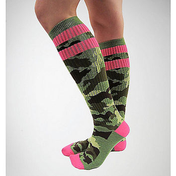 Camo with Hot Pink Athletic Stripe Knee High Socks - Spencer's