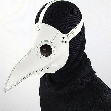Cospaly Dr. Beulenpest Steampunk Plague Doctor Mask White PU Leather Birds Beak Masks Halloween Art Cosplay Carnaval Costume