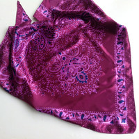 Paisley Satin scarf, Gift for wife Hip coverup  headband Best Friend gift  Coworker Gift  Holiday Gift  Magenta Purple Scarf  Gift under 10