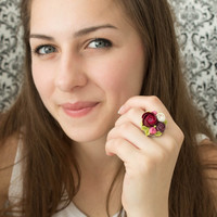 Purple Red Violet Rose Ranunculus Ring Women Accessory Statement Ring Finger Decoration Floral Flower Ring Birthday Wedding Bridal Gifts