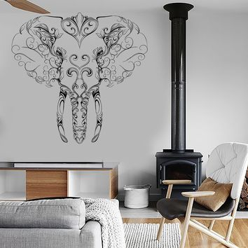 Wall Vinyl Sticker Decal Elephant Tusks Head Patterns Flowers Character Contemporary Unique Gift (ed410)