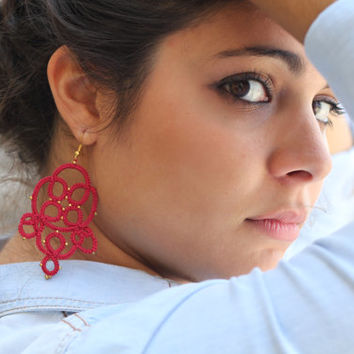 Tatted chandelier earrings-Lace earrings -Beaded earrings-Gift for her-under 25-red earrings