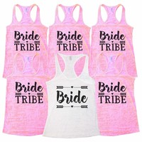 "Wedding Bridal Party and Bridesmaid Tank Tops - ""Bride Tribe"" Getting Married Gift"