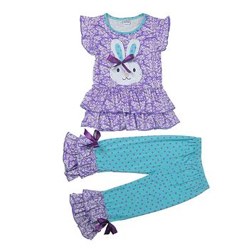 Easter Day Outfit New Arrival Spring Girls Clothing Set Bunny Pattern Top Polka Dot Ruffle Pant Kids Boutique Clothes E009