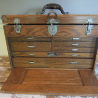 Antique Machinist Chest WWII Tackle Box Jewelry Box