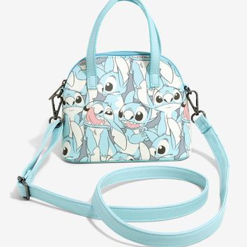 Licensed cool Disney Lilo & Stitch Light Blue Mini Dome Crossbody Bag Tote Purse NWT