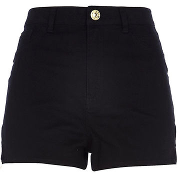 River Island Womens Black high waisted Nori denim shorts