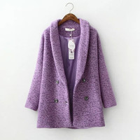 Lavender Long-Sleeve Button Coat