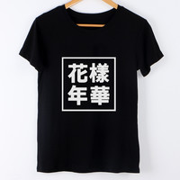 New Kpop Harajuku BTS Bangtan Boys Tshirt Graphic Tee Shirt Letrer Clothing For Women Hip hop T-Shirts For Lady White Black Tees