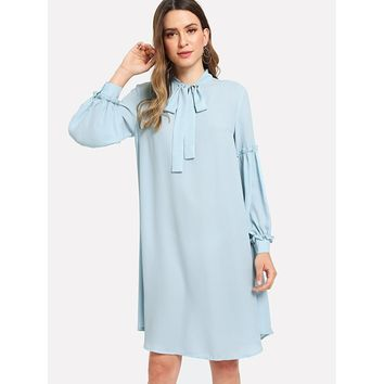 Tie Neck Frill Trim Tunic Dress