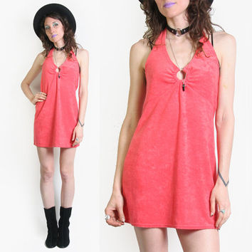Coral Pink Terry Cloth Halter Top Mini Dress - Towel Dress - Pool Side Dress - Terry Cloth Beach Dress - 90s does 70s - Halter Dress - Cute