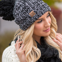 CC Two Toned Knit Fold Over Puff Beanie (Black & Grey)