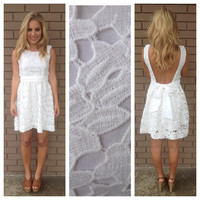 White Blanca Low Back Lace Dress