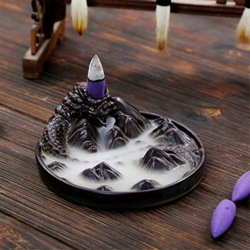 Ceramic Black Dragon Backflow Incense Burner Holder Aromatherapy Buddhist Censer Home Decoration Incense Cones 12.2x5.2cm