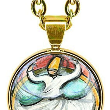 "Rumi Sufi Whirling Dervish 5/8"" Mini Stainless Steel Gold Pendant Necklace"