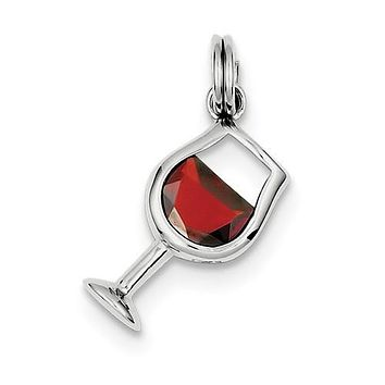 Sterling Silver Red CZ Wine Glass Charm
