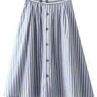 White And Blue Striped High Waist Button Up Midi Skater Skirt