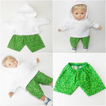 BITTY BABY CLOTHES, doll boy, girl or 15 inch twin, St. Patrick's Day, Irish, Shamrock, white hoodie green shorts, adorabledolldesigns
