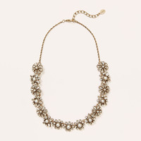 Pearlized Crystal Floral Necklace
