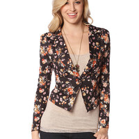 Papaya Clothing Online :: FLORAL PRINT ONE BUTTON JACKET