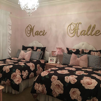 GOLD GLITTER connected wall letters wood wall decor baby and kids room decor elegant script wooden name sign letters fancy name