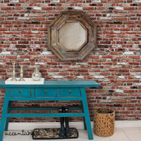 Red Brick Self Adhesive Fabric Wallpaper Repositionable