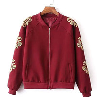 Burgundy Floral Pattern Jacket with Stand Collar