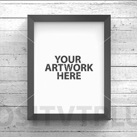 Poster Frame Photography Style / Rustic Wood / White wood / black frame / 8x10in / mockup